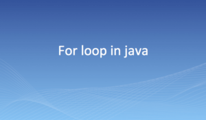 For loop in java