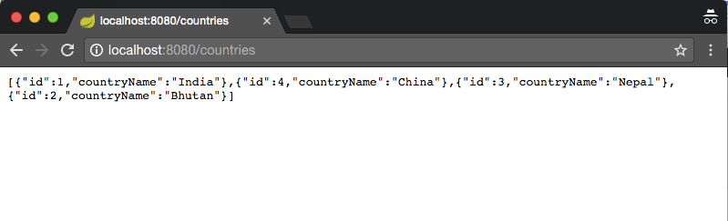 Spring Boot Rest get All Countries