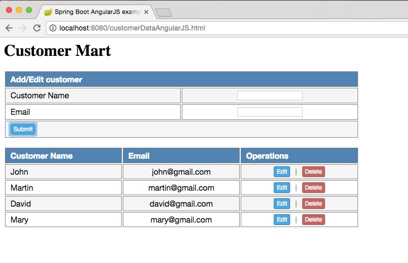 Spring Boot AngularJS Add Customer list