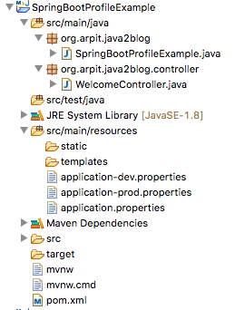 Spring boot profile example