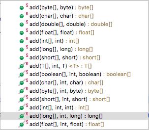 ArrayUtils's add methods