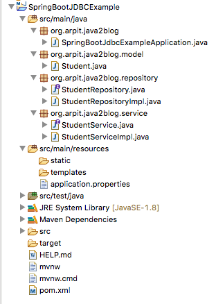 SpringBootJDBCProjectStructure