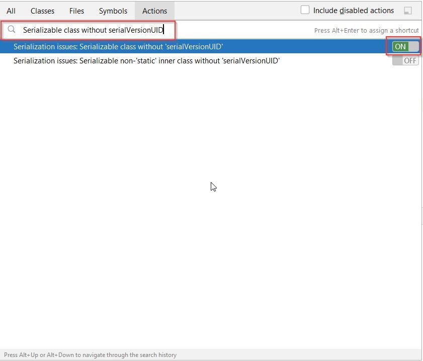 Generate SerialVersionUID using Action