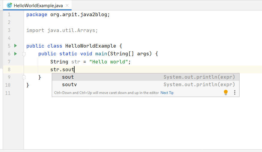 System.out.println variable name intellij
