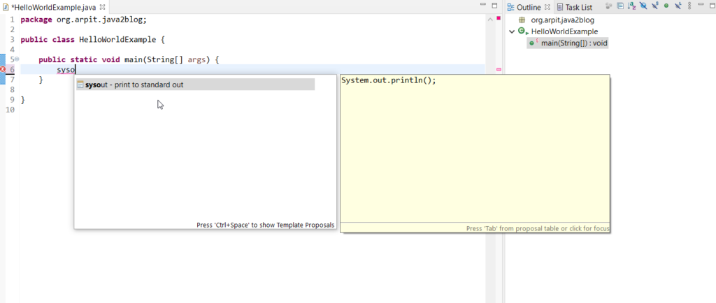 System.out.println shortcut in eclipse