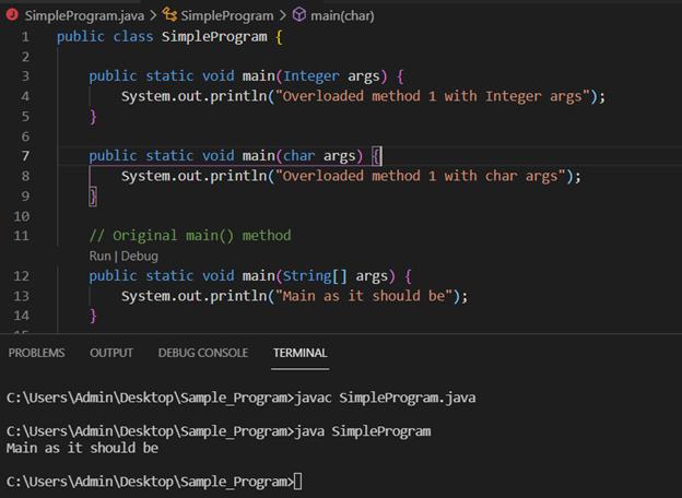 Java main method output 5