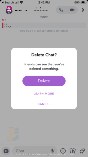 How to delete snapcaht messages the other person saved