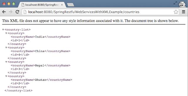 Spring Rest XML list example