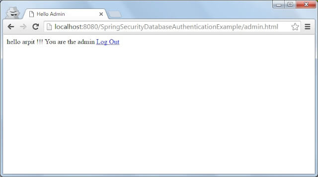 Spring security admin login